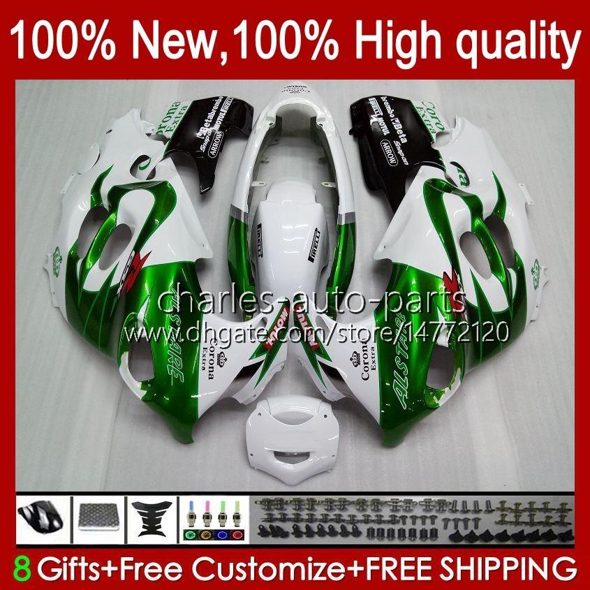 Kropp för SUZUKI GSXF750 GSXF600 Katana GSXF 600 750 CC 600CC 750CC 1998 1999 2000 2001 2002 29NO.75 GSX750F GSXF-600 GSXF-750 GSX600F 98 99 00 01 02 Fairing Green White