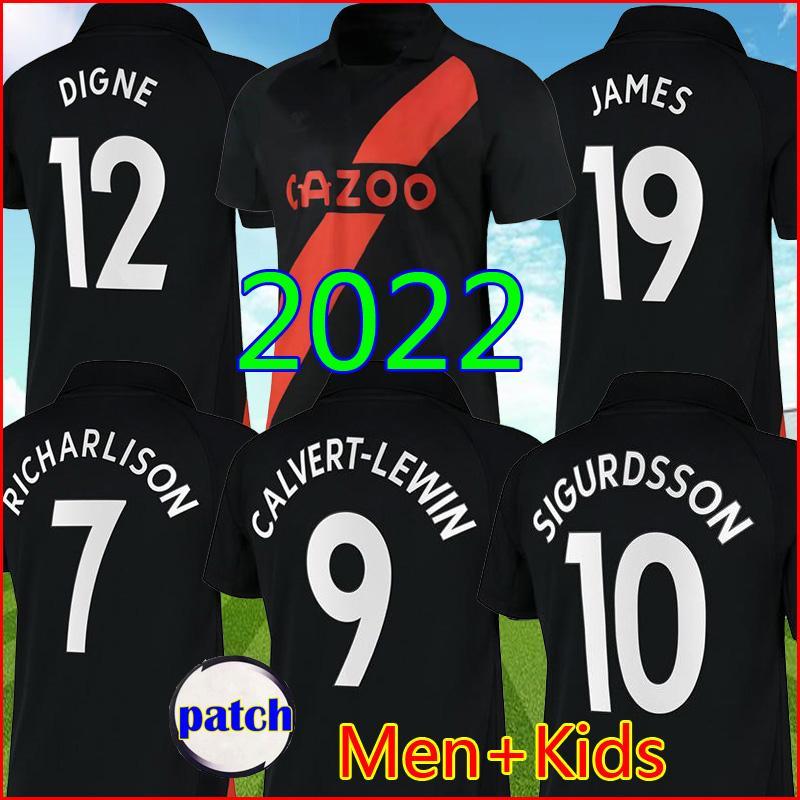 21 22 Calvert-Lewin Everton Soccer Jerseys James Richarlison Away Black 2021 2022 Digne Sigurdsson Top Football Company Doucoure Bernard Men Kids Kit مجموعة موحدة