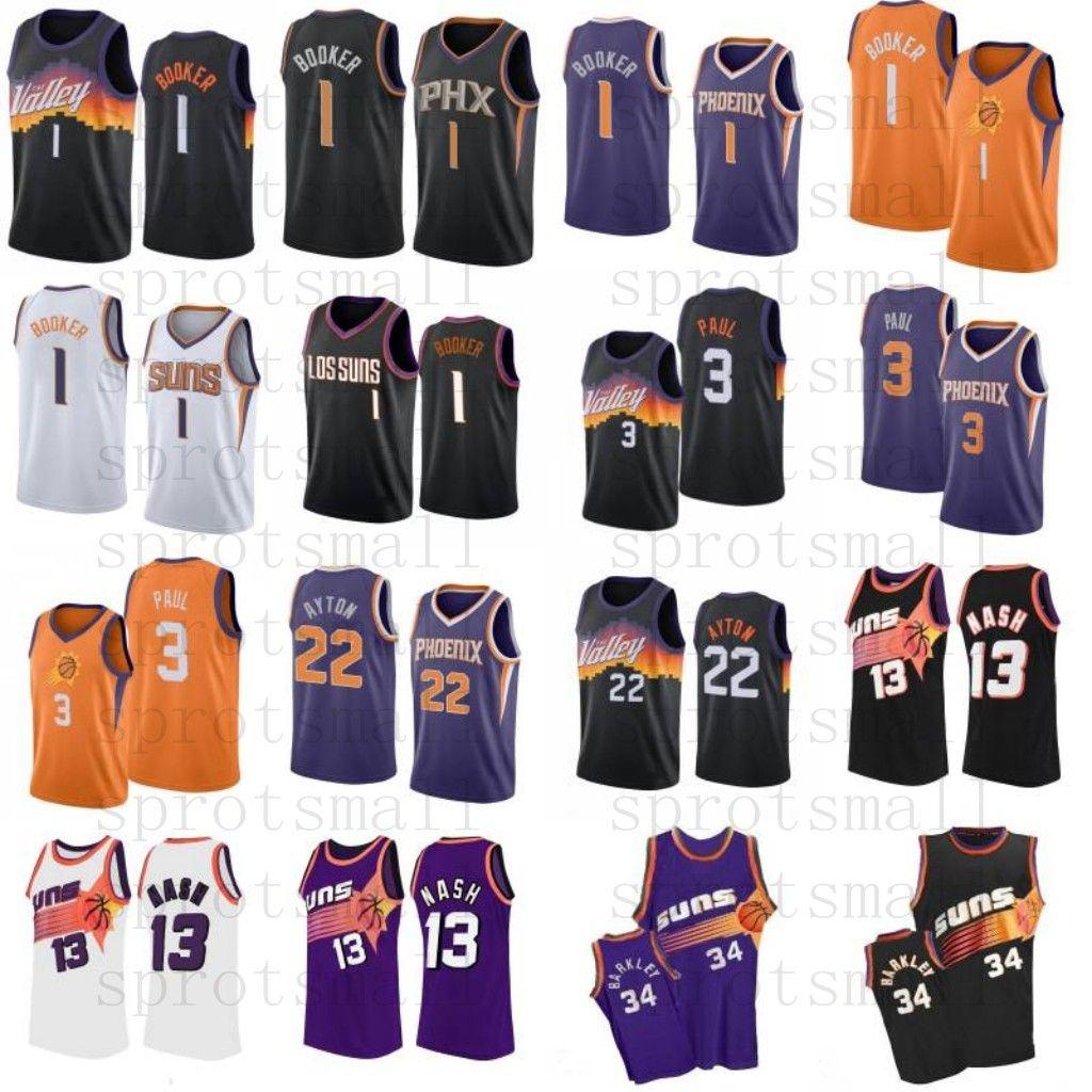 Devin 1 Booker Basketbol Forması Chris 3 Paul Mens Steve 13 Nash 34 Barkley Deandre 22 Ayton Gömlek