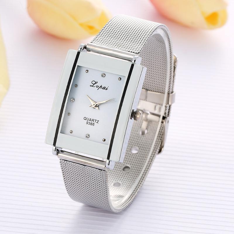 Legierungsstahl Frauen Uhren Weibliche Quarz Armbanduhr Rechteckiges Zifferblatt Luxus Armbanduhr Lady Armbanduhren