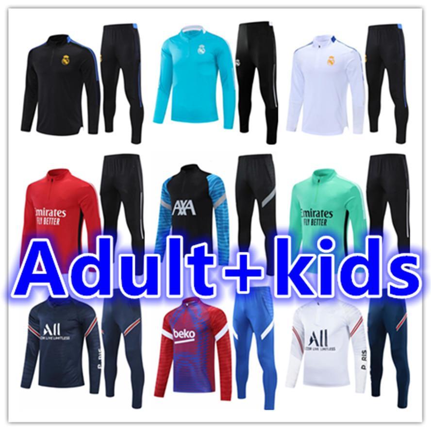 2021 2022 Herren Trainingsanzug Kinder Fußball-Kits Real Madrid Männer Trainingsfußball Jersey Kid Trainingsanzüge Sets Survetement Fußchandal Futbol