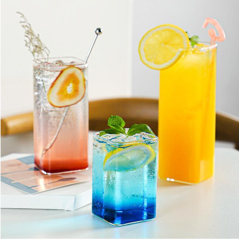 Einzigartiges Trinken Creative Glass Cup Nordic Hitzebeständige Quadratische Home Straight Copas Champagne Tägliche Notwendigkeiten EF50GC Weingläser