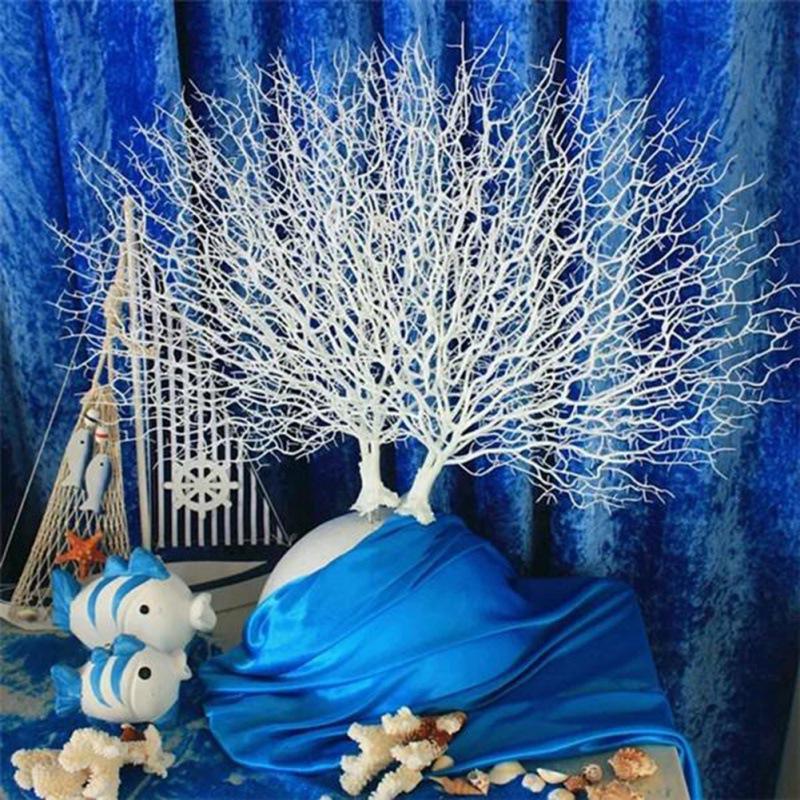 الديكور الاصطناعي المرجان فرع وهمية النباتات البحرية سلسلة الفن زخرفة البلاستيك الطاووس شجرة ل حافر الرماية الدعائم نافذة diy الإمدادات