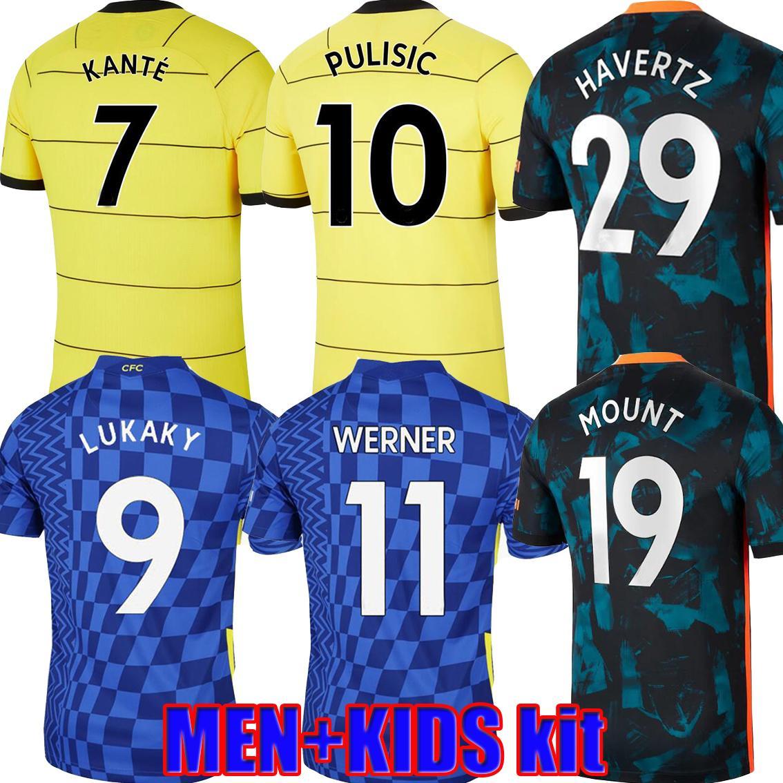 Fans Player Version 21 22 CFC Lukaku 9 Werner Havvertz Soccer Jerseys Sharaham Chilwell Ziyech Chemise de football Pulisic Jorginho Camiseta 2021 2022 Kante Hommes Kit Finales