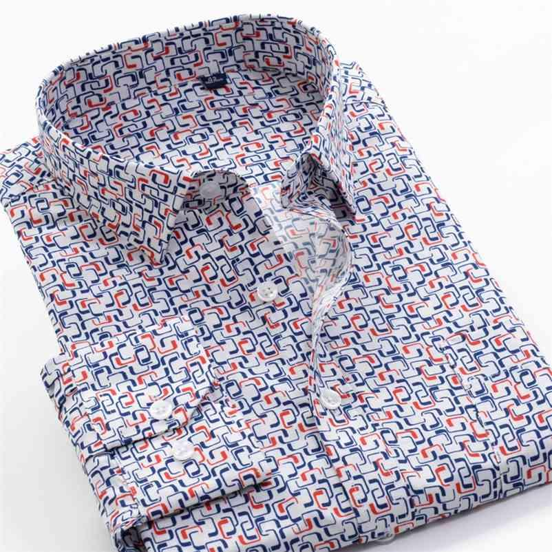 6XL 7XL 8XL 9XL 10xL Shanbao Brand Dimensione sovradimensionata da uomo Autunno Casual Camicia a maniche lunghe Camicia Geometrica Pattern Stampato Classic Camicia classica 210414