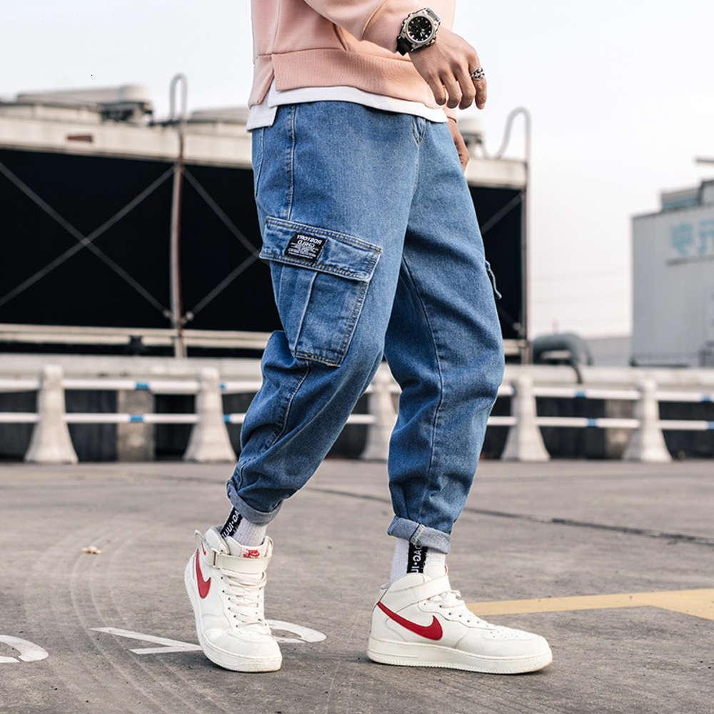 Streetwear Blue Jeans Pants 남성 2021 망 포켓 힙합 바지화물 바지 남성 느슨한 패션 데님 하렘