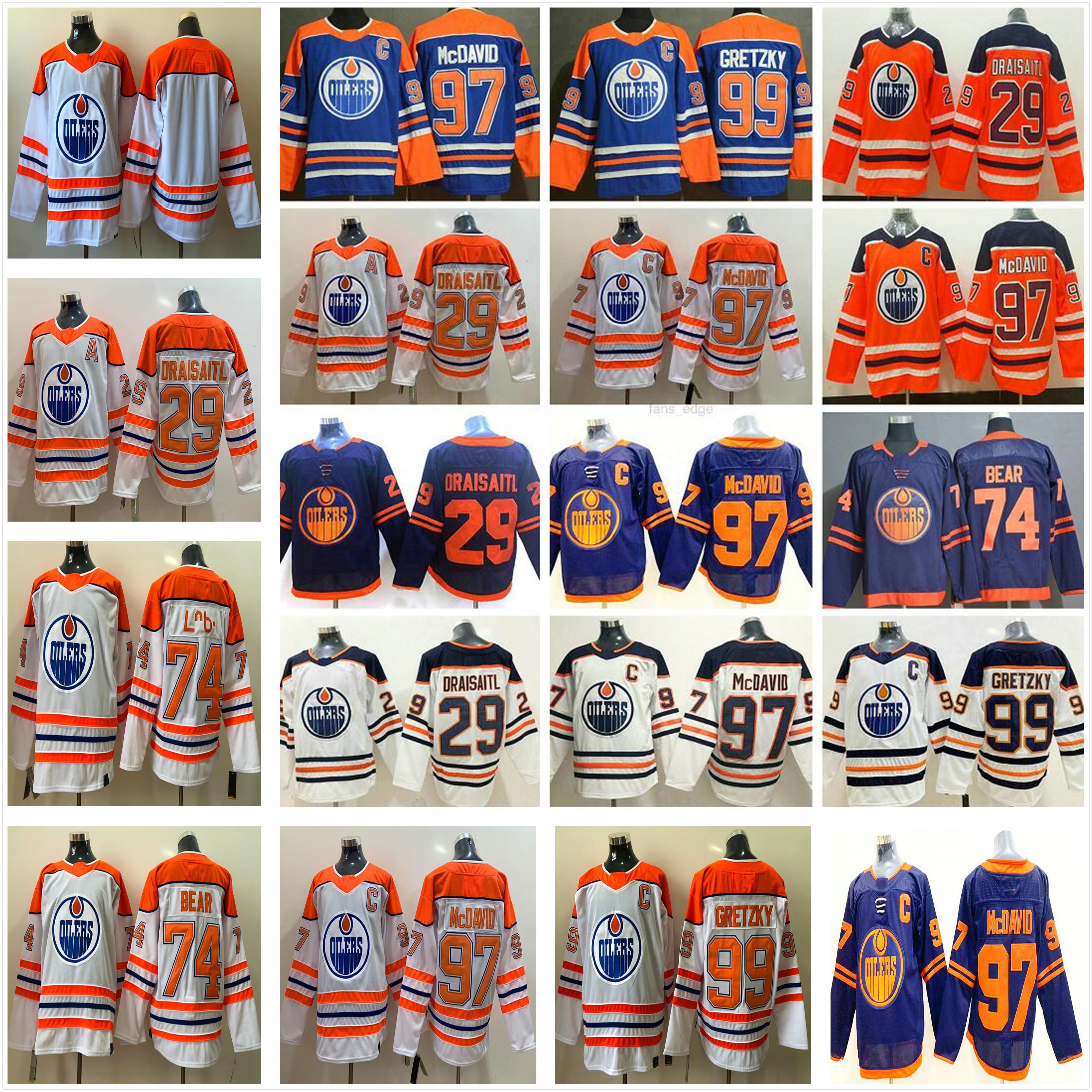 2021 عكس ريترو الأبيض إدمونتون زيتي الهوكي الفانيلة 97 كونور ماجدافيد 29 ليون درايسيتل 99 وين Gretzky 93 ريان ناجين هوبكينز 74 إيثان الدب كل مخيط