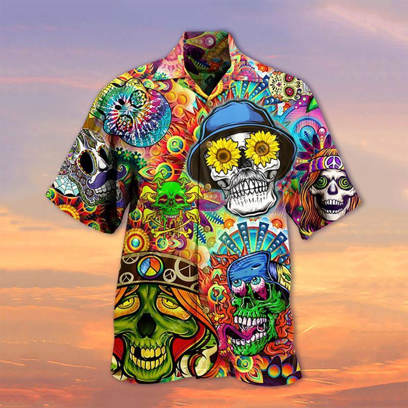 Camisa havaiana ocasional ocasional do verão dos homens Camiseta impressa da praia do t-5xl