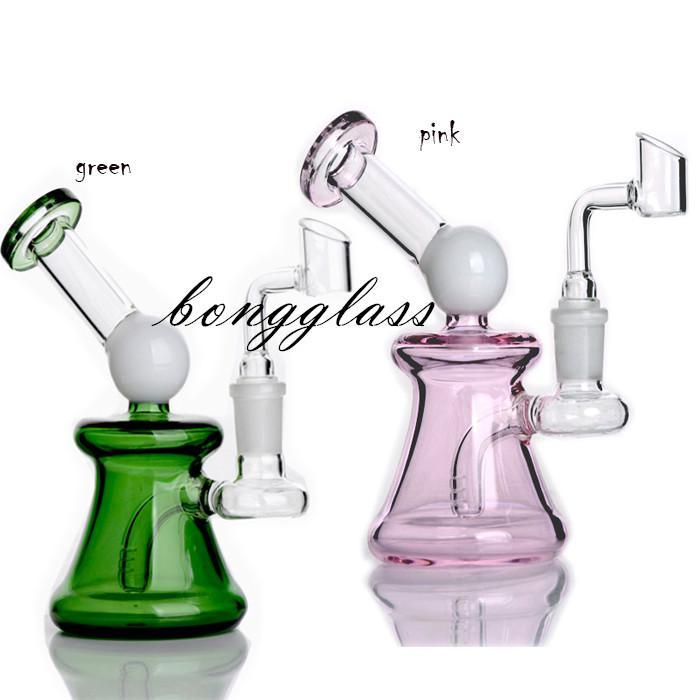 5.9 inchs Pink glass Bongs Water Pipes Hookahs Shisha Beaker Base Dab Rig heady Oil Rigs Smoke Pipe Percolater with 14mm banger