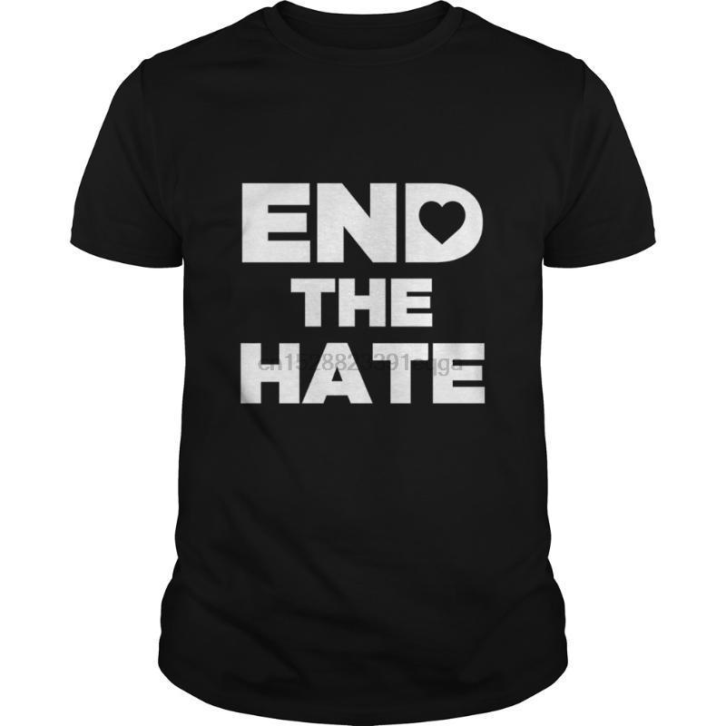 Homens manga curta tshirt Terminar o ódio com coração Pare de bullying Anti-Bullies T-shirt legal das mulheres dos homens