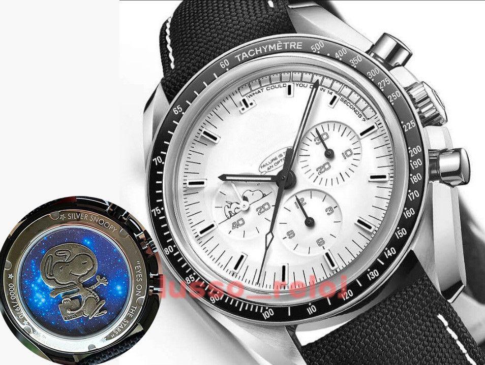 Yüksek kaliteli erkekler erkek lüksSeramik Çerçeve Snoopy Chronograph VK Quarz Hareketi Master İzleKumaş James Bond 007 Saatler Montre de Luxe Uzay Kol Saati