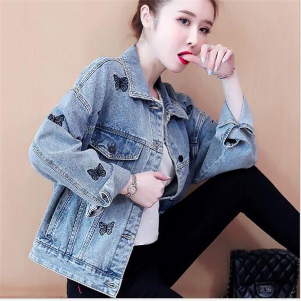 2021 primavera nuova giacca da donna koreana sciolto ricamo monopetto da ricamo corto denim farfalla modello giacche vestiti tuta sportiva cappotti