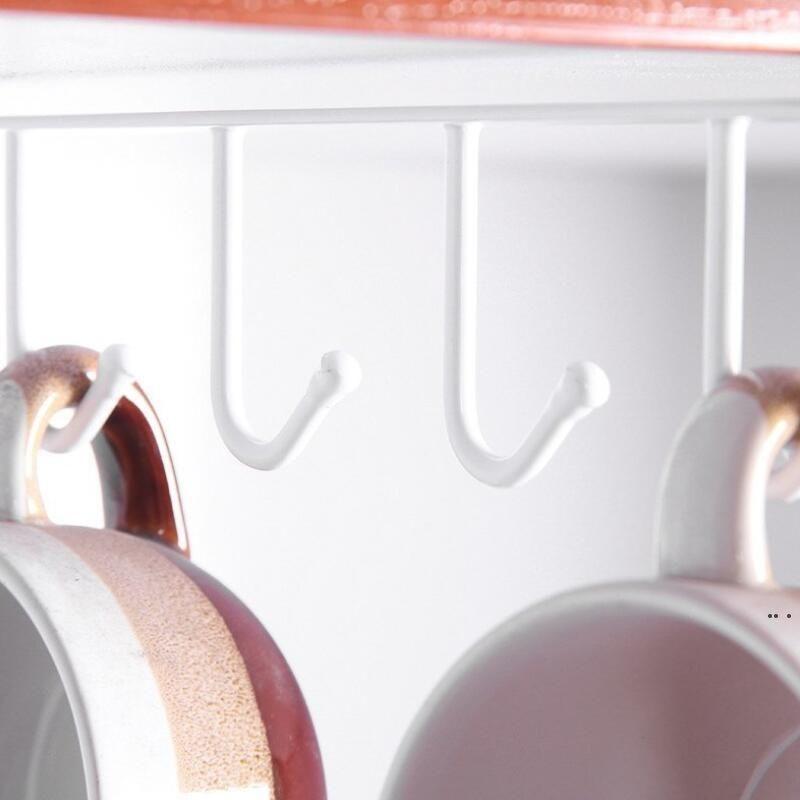 Parete appeso Armadio Organizzatore Scaffale per stoccaggio Scaffale 6 Ganci Cucina Coppa Portabicchieri HWWE5945