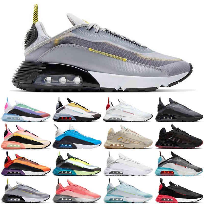 hotsale 2090 hommes femmes chaussures de course être vraie Pure Platinum Brushstroke noir Blanc Blue Volt Blue Mens Baskets Sports Sneakers Sports