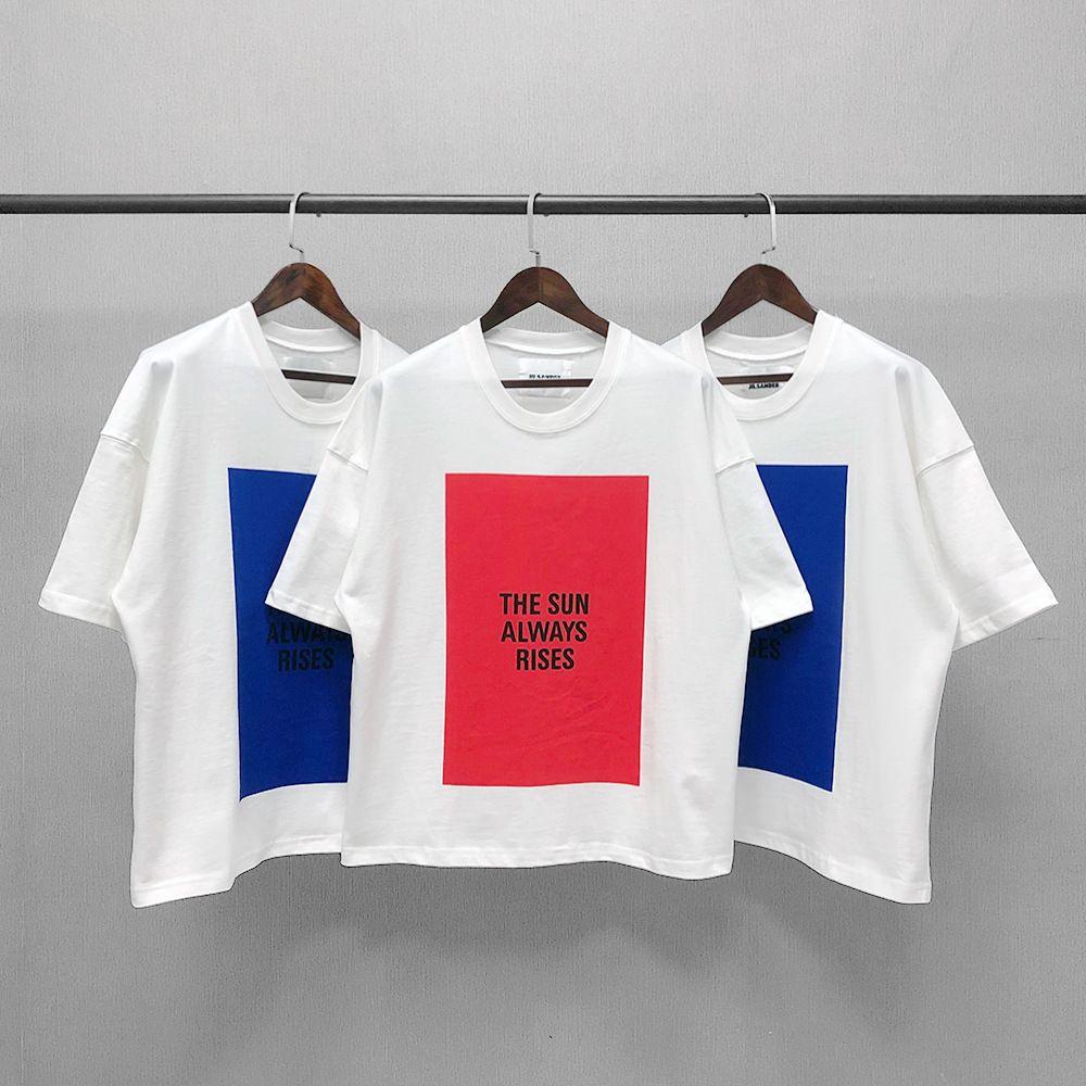 21ss Jil Sander Frauen Them Tee Güneş Her Zaman Yükselir Homme Femme T-Shirt Vintage Kısa Kollu Yaz Sokak Erkek Kadın HFYMTX640