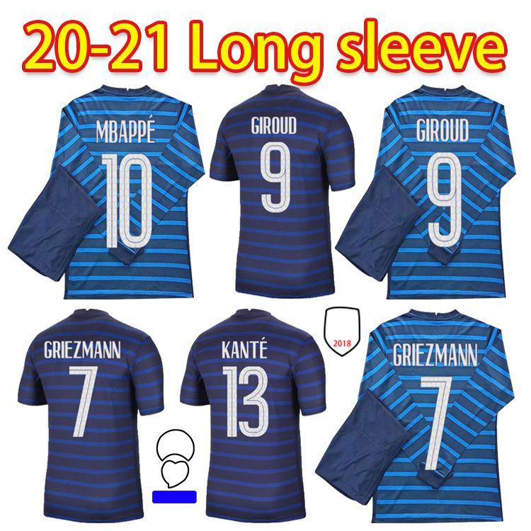 2022 Men Francia Manica lunga Maglia da calcio Le Sommer Henry Kylian Mbappe Antoine Griezmann Paul Pogba Giroud Zidane Kantes Lloris Kit di calcio