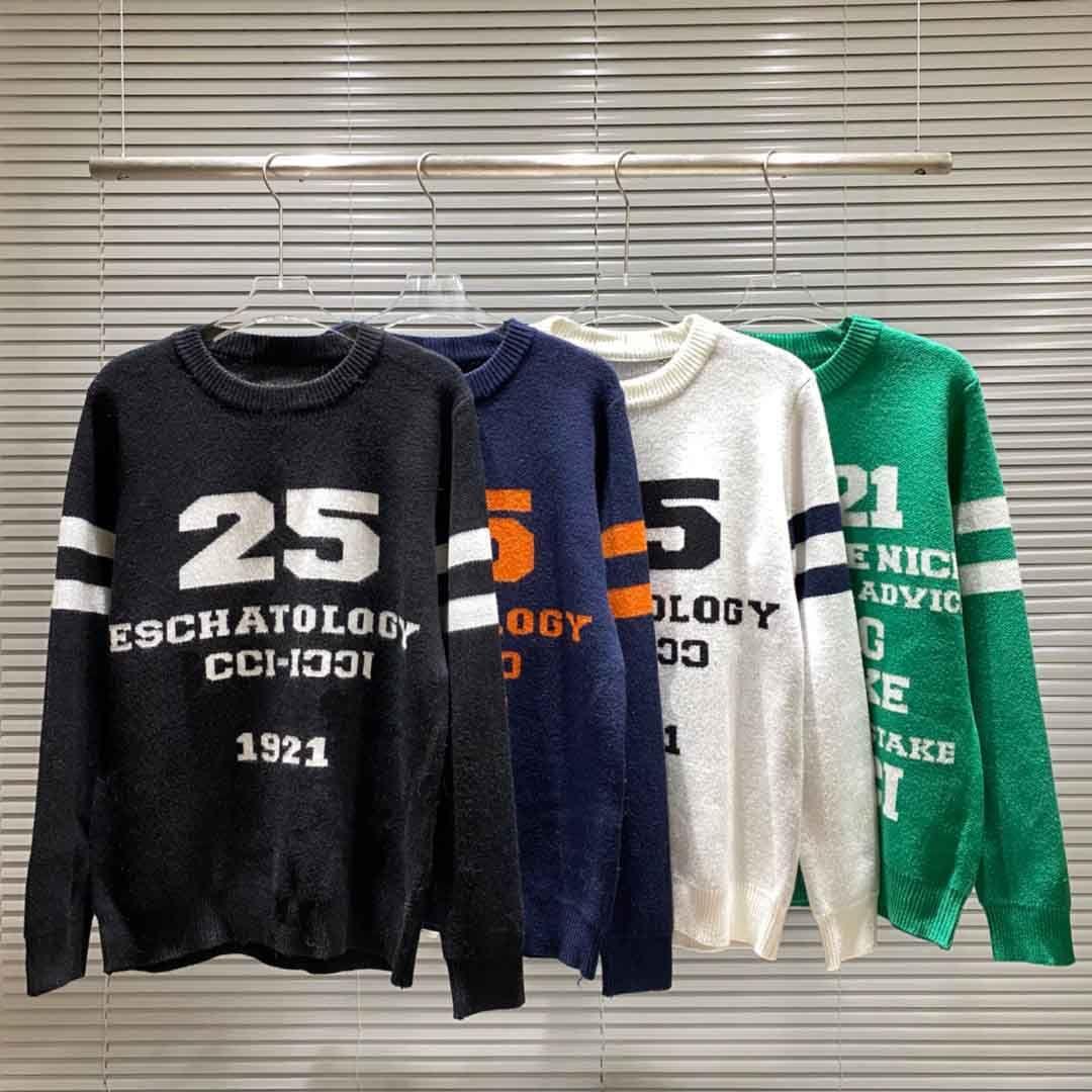 Новый AOP Jacquard Письмо вязаный свитер в осень / зима 2020 пользовательский жаккардовый вязальный аппарат увеличенной детали шеи экипажа хлопок 01