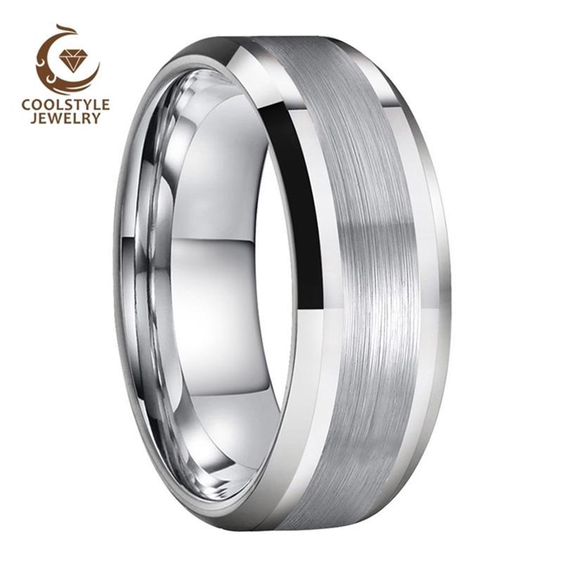 8 мм мужчины женщин вольфрамовый карбид кольцо свадебные кольца с центральным полированным полированным скошенным комфортом 210701