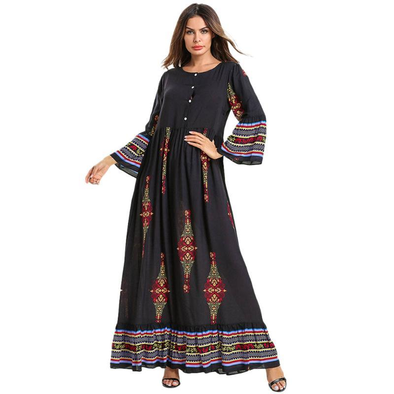 بالإضافة إلى حجم اللباس المسلم المرأة 2021 الأزهار طباعة طويلة ماكسي العباءة جلباب دبي قفطان رداء رمضان الأعراق