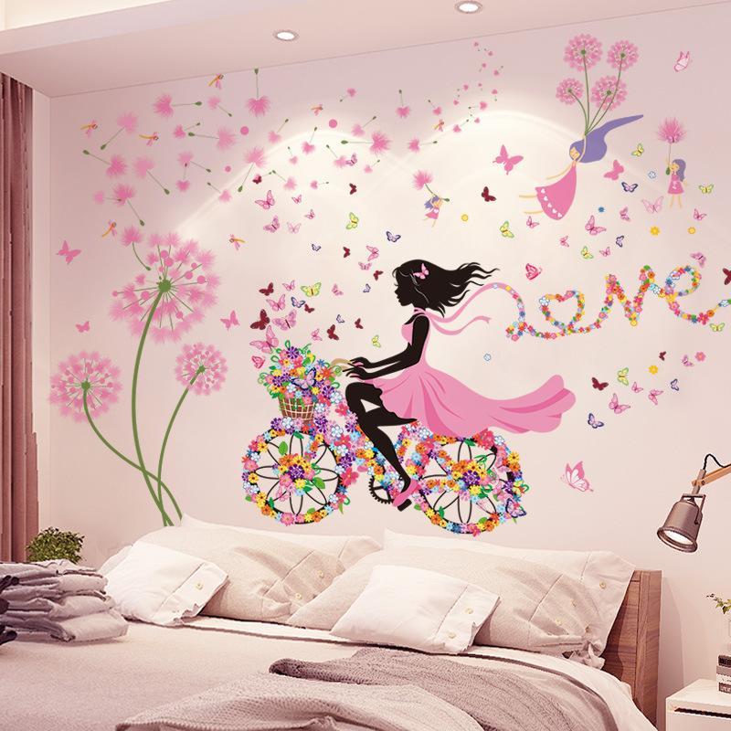 [Shijuekongjian] Negro Diente de león Flores Pegatinas de pared DIY Chica Mural Calcomanías para la sala de estar de la casa Decoración de dormitorio para niños 1369 V2