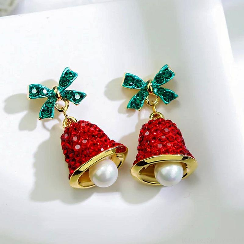 Weihnachtsbogen Chimes Ohrringe Aussage Perle Kristall Wind Glocke Bowknot Stud 925 Silber Nadel Legierung Charm Ohrring Schmuck Geschenk