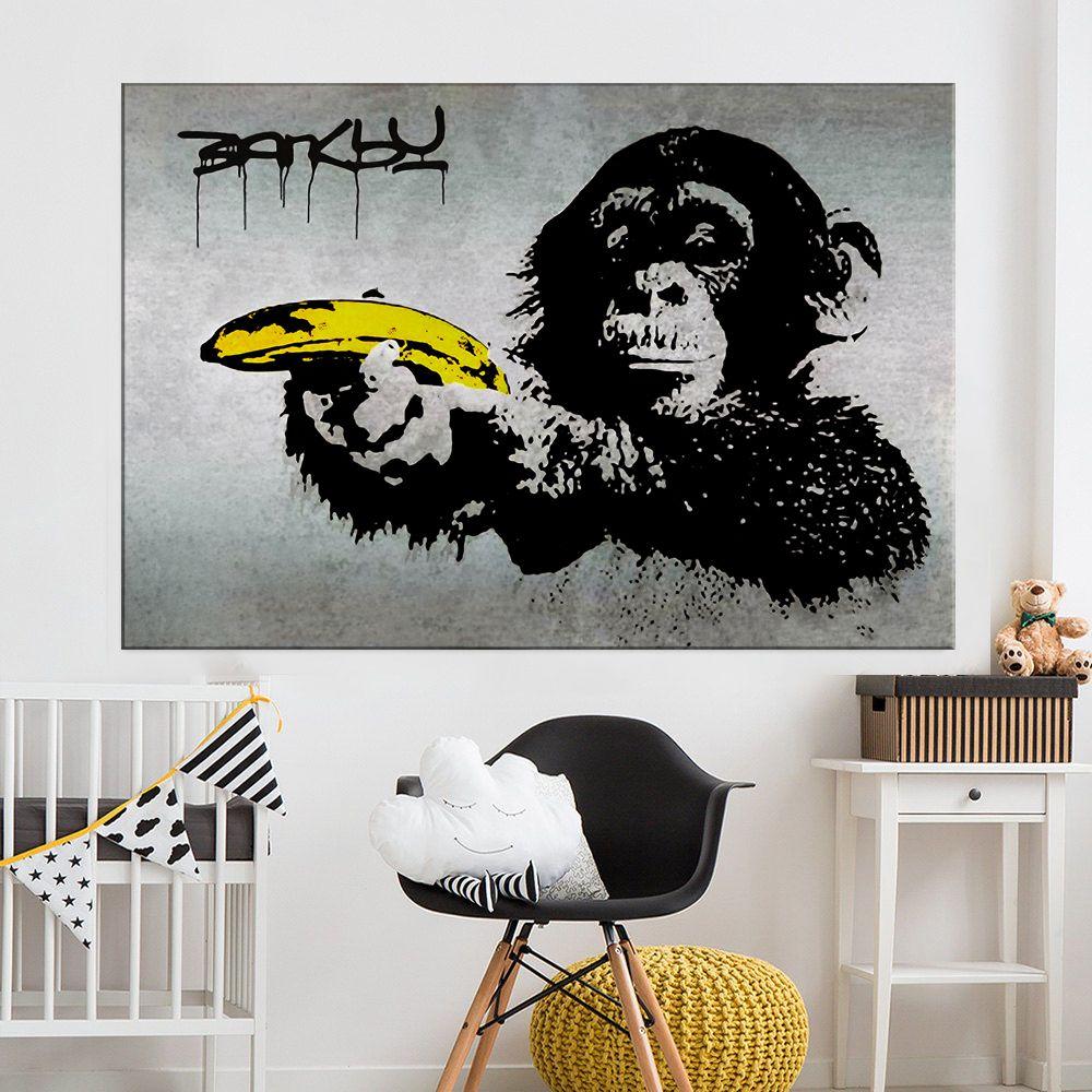 Tuval Sanat Banksy Graffiti Resim Şempanze Bir Muz Duvar Resimleri Holding Oturma Odası Ev Dekorasyonu için Holding Baskılı ZHL1039