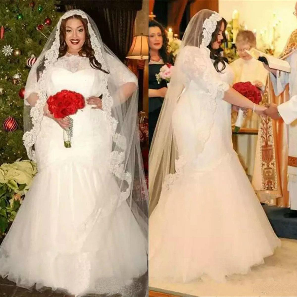 Robe de mariée modeste Plus de taille en dentelle en dentelle en dentelle appliquée Tulle Tulle Mermaid Robes de mariée personnalisées Robes de mariée personnalisées