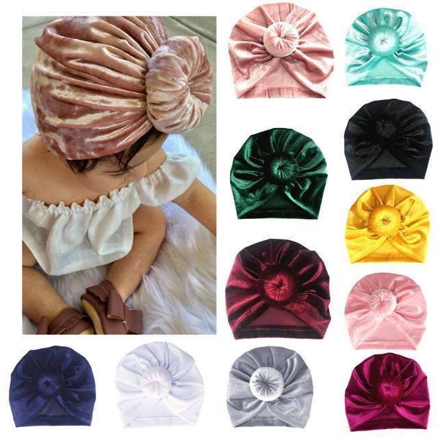 11 Colors Baby Hat Girl Boy Bonnet Knot Indian Turban Velvet Headdress Cap Kids Twist Head Wrap Solid Soft Headwrap Cotton Infant Toddler Hairband Beanie