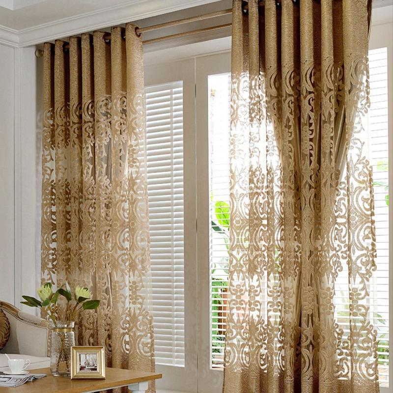 Gold Hollow Jacquard Embroidery Curtains Luxurious Europe Voile For Living Room Kitchen Damask Window Drapes Finished ZH431E Curtain &