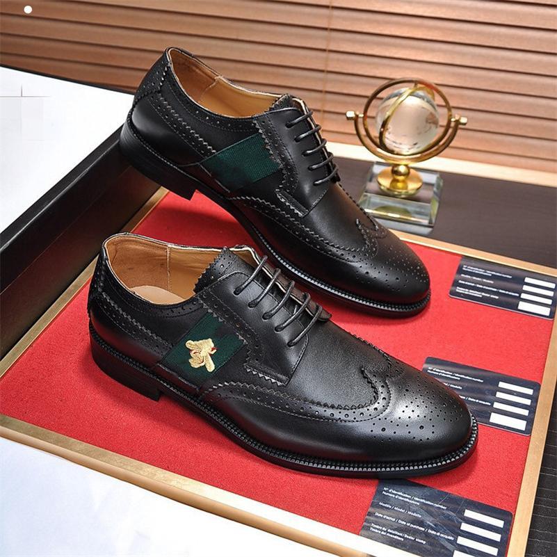 품질 디자이너 세트 발 남성 공식 신발 정품 가죽 플랫 비즈니스 패턴 레저 샤스 블랙 브라운 격자 무늬 사무실 쇼즈