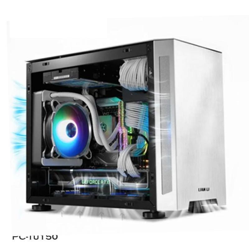 LIANLI-TU150 미니 ITX 컴퓨터 모드 케이스, 투명한 수냉면 섀시, ARGB 동기 전면 패널 팬 냉각