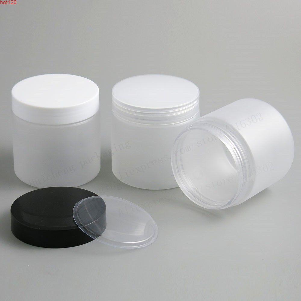 6.66 Oz Frost Büyük Doldurulabilir Pet Plastik Kavanoz Plastik Kapaklı 200ml 200cc Boş Kozmetik Konteynerler Pot Şampuan Kavanozları 20 adetGood