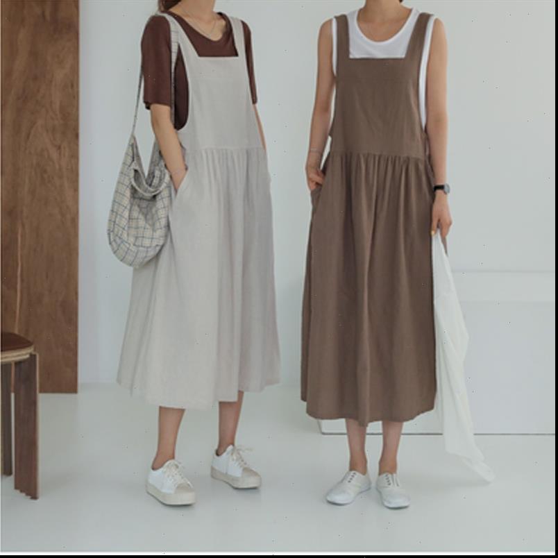 Sommerkleid Womens Frauen Plus Größe XL 5XL Baumwolle Leinen Damen Tank Vestidos Sleeveless Marke Robe