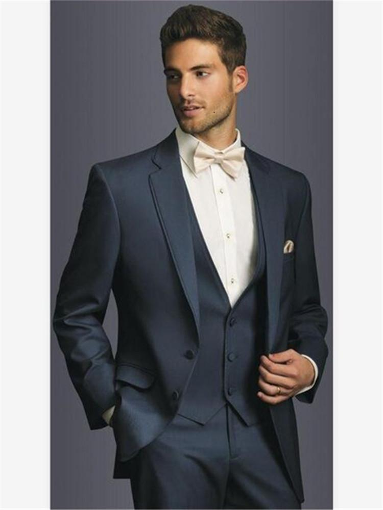 Men's Suits & Blazers classic men's tux smolking bridegroom thin suit and culine evening suits for Navy men two buttons tuxedo godfather