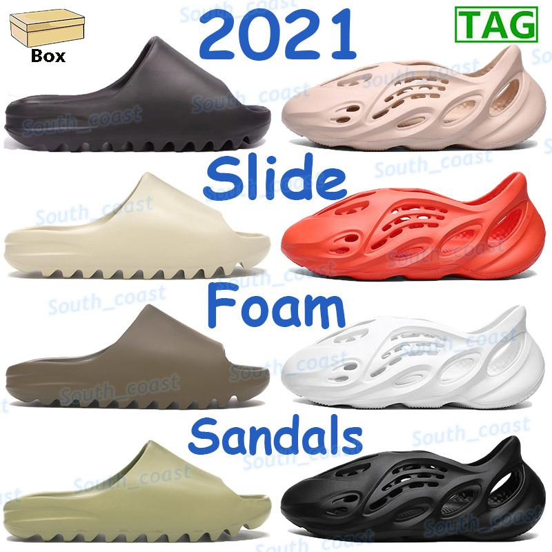 2021 Sandales pour hommes Sandales Sandales Résine osseuse Mode Brun Slip-pantoufle Mousse Triple Noir Blanc Orange Core Soot Ararat Hommes Femmes Soupes Sneakers