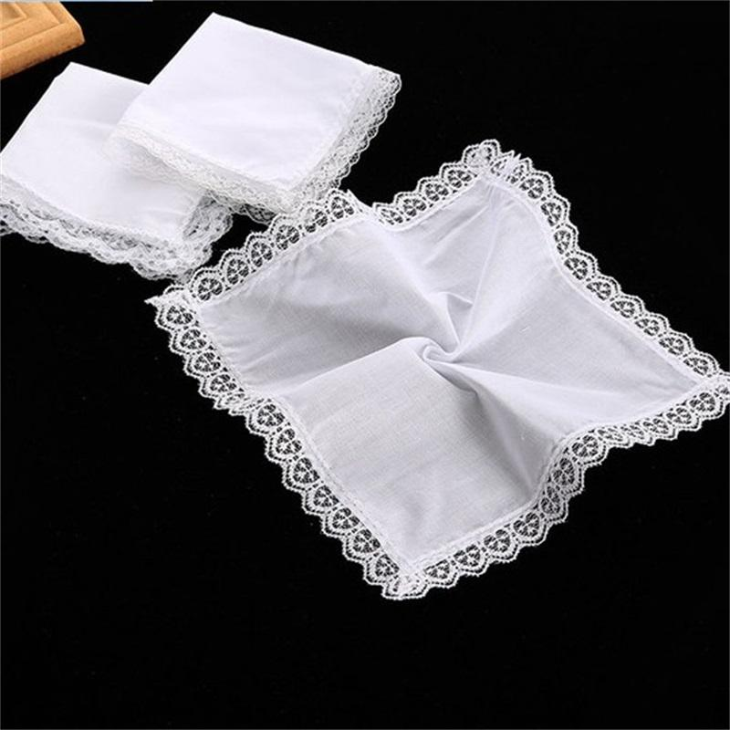 25 cm de encaje blanco delgado pañuelo de algodón de algodón mujer regalo de boda fiesta decoración de paño servilleta bricolaje llano en blanco FWB6778 1466 T2