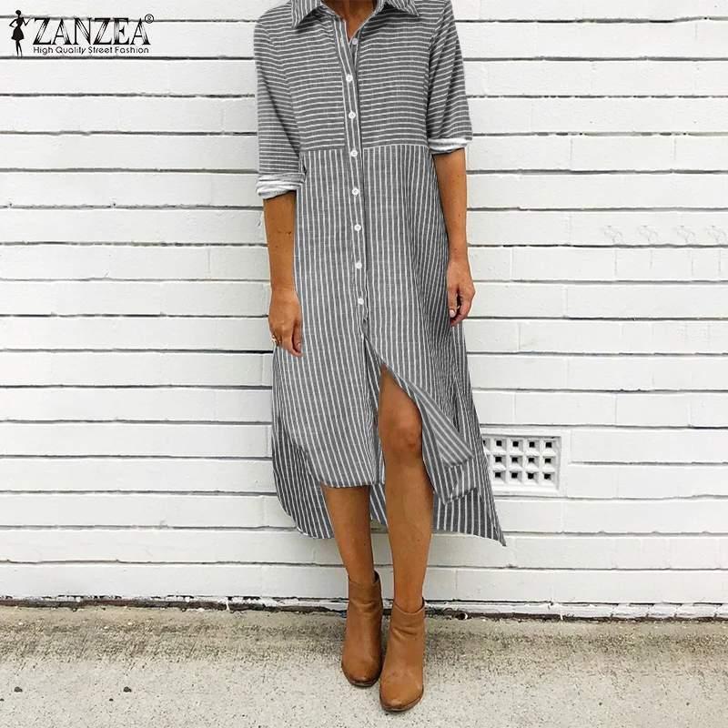 Donne Midi Vestidos 2021 Ladies Turn Down Colletto Camicia Abito Casual Striped Robe Femme Autunno Autunno Manica lunga Plus Size 5xl Abiti