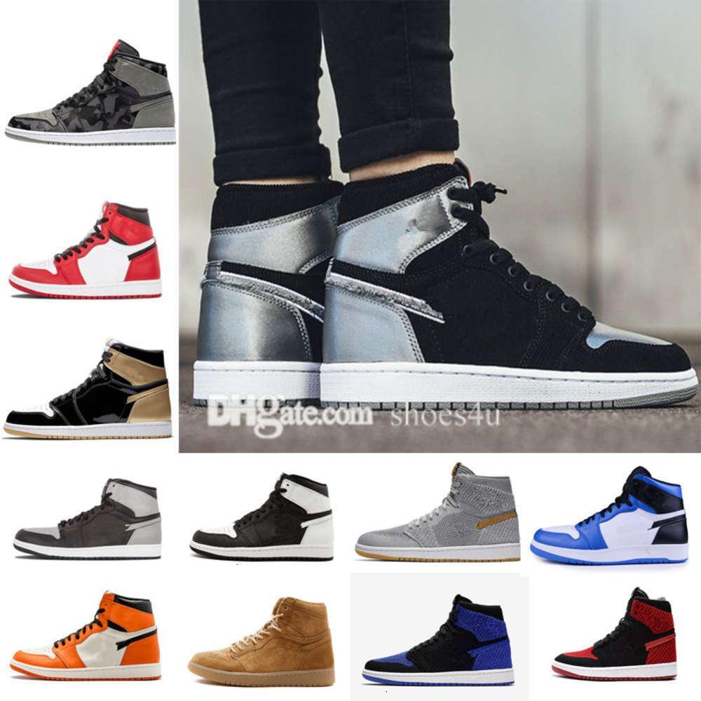Klasik 1 Yüksek Üst UNC Metalik Kırmızı Basketbol Ayakkabı Sneakers GS GS BRED Yasak Top 3 Kraliyet Siyah Ters Parçalı Backboard Siyah Ayak Chicago WBK9