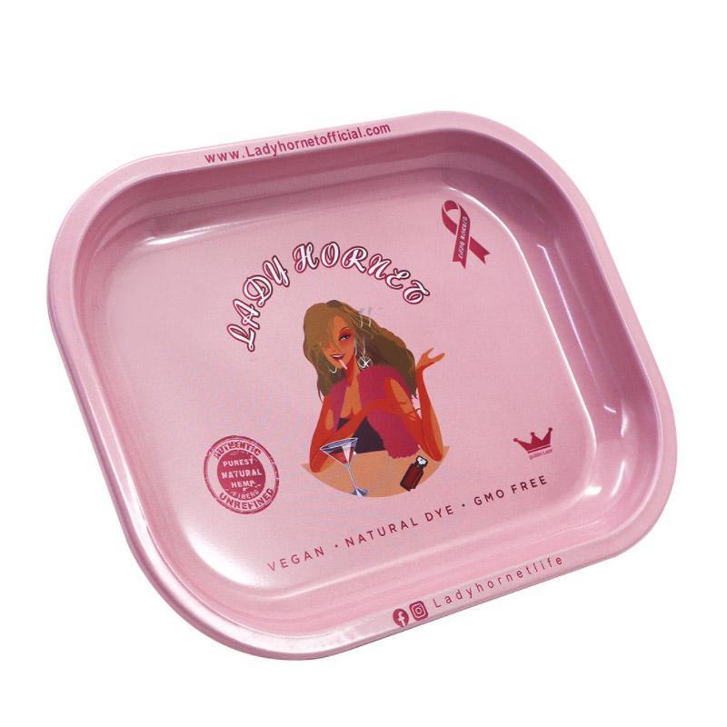 Lady Hornet Tablett Rauchen Zubehör mit Tasche Packung Metall Rosa Girly Muster Gedruckt Kleine Walzschalen 180 * 140mm
