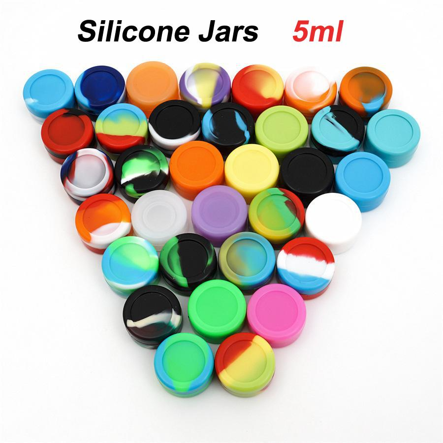 Silicone Non-stick Wax Oil Container 5ml Plastic Jar Silicon Storage Containers Lids with Acrylic Shied for Dabs