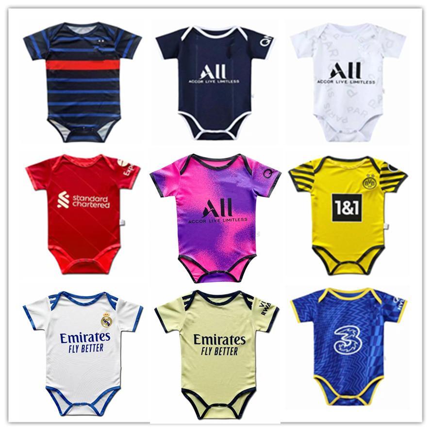 2021 2022 Real Madrid 6 bis 18 Monate Baby Kit Säuglingsfußball Trikots Kits 21 22 Babys Hemden Jersey Kundenspezifische Fußballuniformen