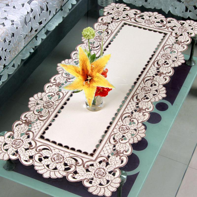 Table Napkin Floral Crochet Chair Cover Beige Lace Overlays Design For Dressers End Tables TH
