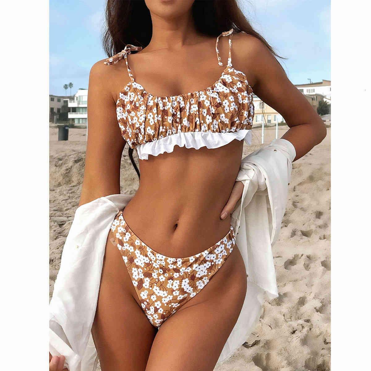 2021 Sexy Women Maillot de bain Femelle Taille haute Bikini Thong Ensemble de maillots de bain Floraux pour maillot de bain