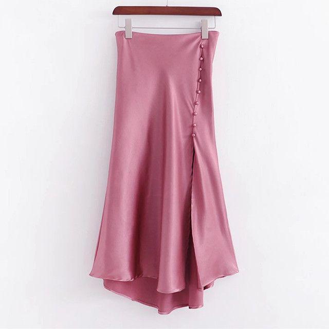 Light pink satin skirts, asymmetric rivet skirt, long opening design, tight, leisure, drape, office, summer