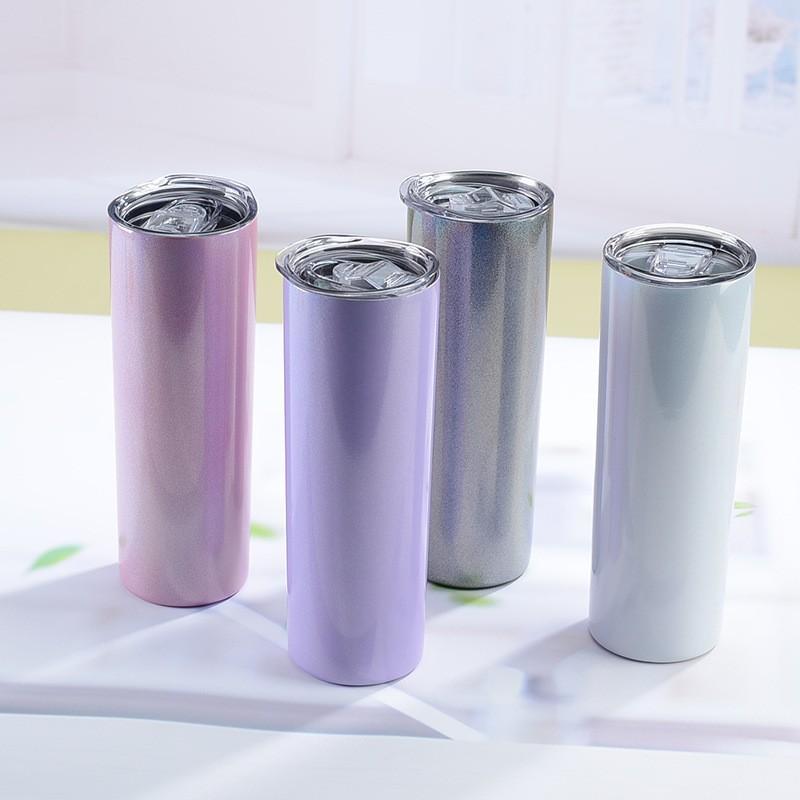 5 Renk 20 oz Süblimasyon Glitter Sıska Tumbler Paslanmaz Çelik Süt Fincan Çift Duvar Vakum Yalıtımlı Kahve Kupa Taşınabilir Seyahat Bardak Kapak