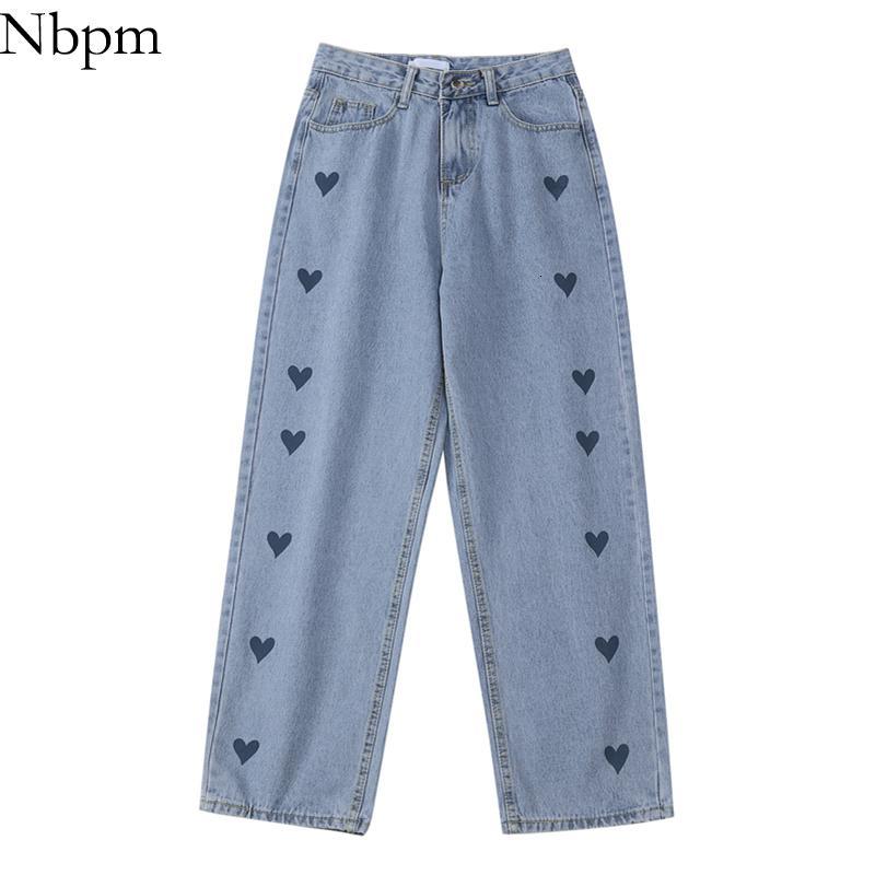 NBPM Yeni 2021 Moda Kalp Baskı Boru Kot Kadınlar Yüksek Kuyruk Kızlar Streetwear Baggy Kot Losse Vücut Broek Denim Pantolon