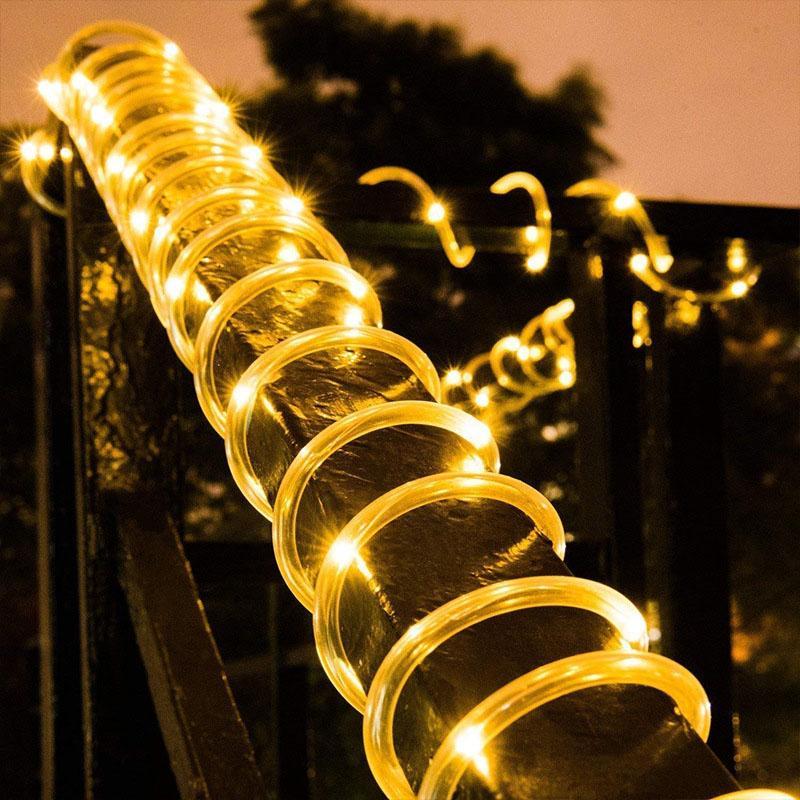 Açık Güneş Led Tüp Halat Sensörü Işık Dize 10 M Noel Su Geçirmez Bahçe Ağacı Bakır Tel Aydınlatma Dekoratif Ev Çimenci Fener
