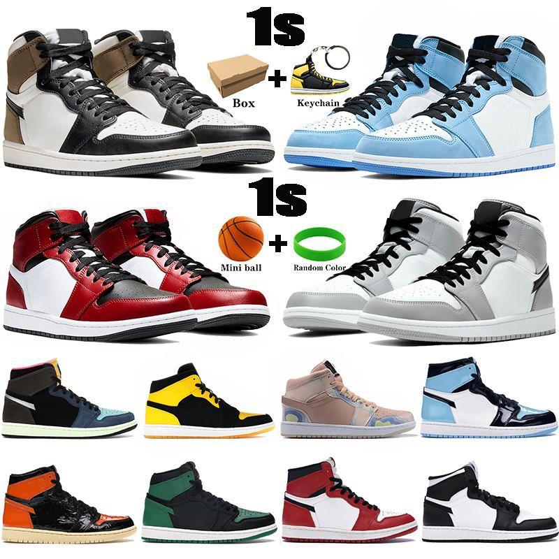 Kutu 1 1 S Erkek Basketbol Ayakkabıları Üniversitesi Mavi Karanlık Mocha Orta Işık Duman Gri Gümüş Chicago Toe UNC Patent Erkek Kadın Sneakers