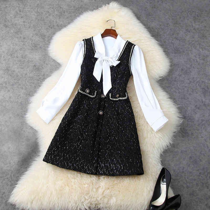 Iki Parçalı Elbise Bahar Uzun Kollu Yuvarlak Boyun Beyaz Şerit Kravat Bluz + Kolsuz Panelli Düğmeler Mini Takım Elbise 2 S Set LJ1111768 80ya