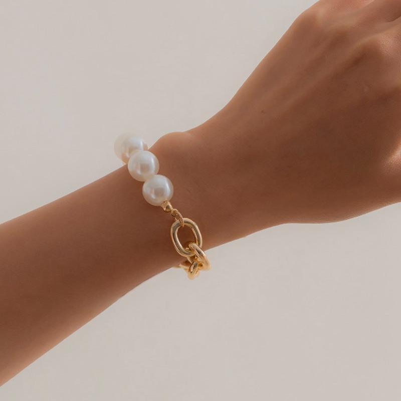 Künstliche Perlenarmbänder Frauen Unregelmäßigen Schmuck Armband Schmuck Mode Unisex Handgemachte Punk Silber Farbe Legierung Armband Link, Kette